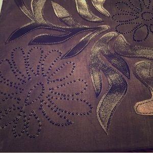 Handcrafted Black Floral Tote (NWOT)